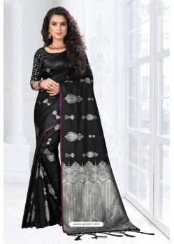 Black Silk Designer Saree