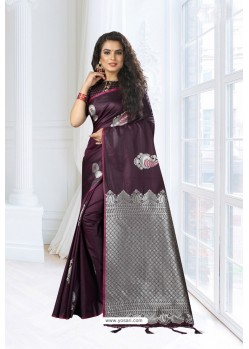 Deep Wine Silk Designer Saree