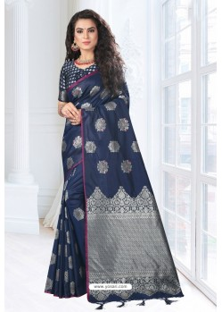 Navy Blue Silk Designer Saree