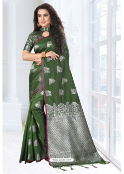 Dark Green Silk Designer Saree