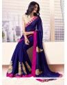 Baronial Blue Faux Chiffon Saree