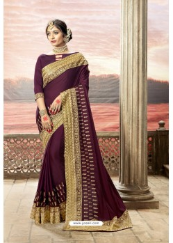 Deep Wine Rangoli Silk Heavy Embroidered Party Wear Saree