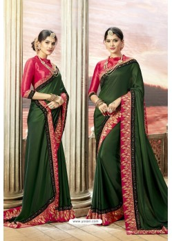 Dark Green Rangoli Silk Heavy Embroidered Party Wear Saree