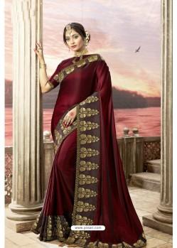 Deep Scarlet Rangoli Silk Heavy Embroidered Party Wear Saree