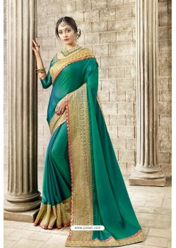 Aqua Mint Rangoli Silk Heavy Embroidered Party Wear Saree