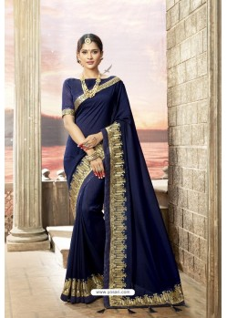 Navy Blue Rangoli Silk Heavy Embroidered Party Wear Saree