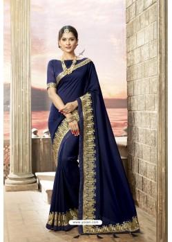 Navy Blue Rangoli Silk Heavy Embroidered Party Wear Saree