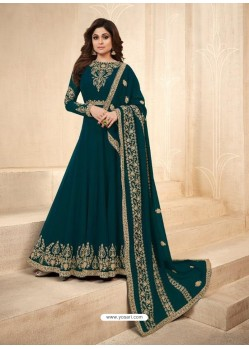 Teal Real Georgette Embroidered Anarkali Suit