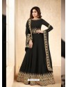 Black Real Georgette Embroidered Anarkali Suit