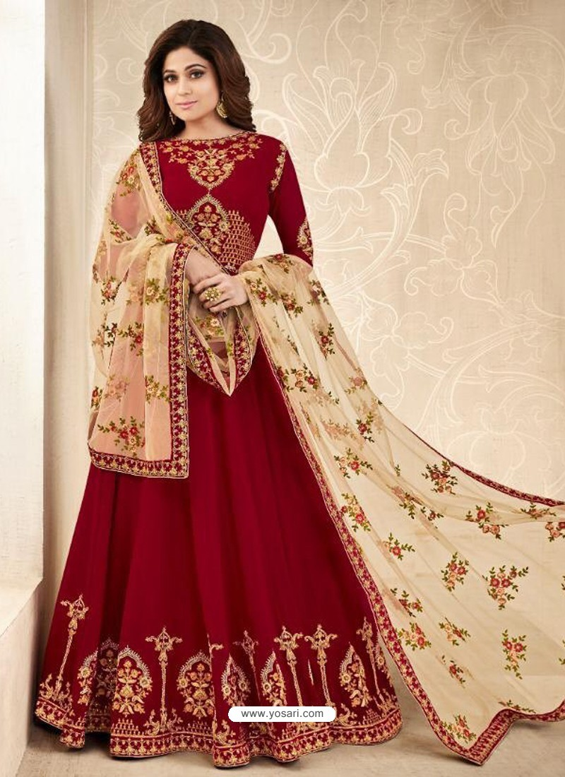 4000683a17 Buy Red Real Georgette Embroidered Anarkali Suit | Anarkali Suits