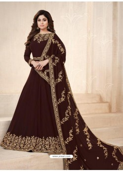 Coffee Real Georgette Embroidered Anarkali Suit