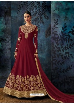 Maroon Georgette Embroidered Designer Anarkali Suit