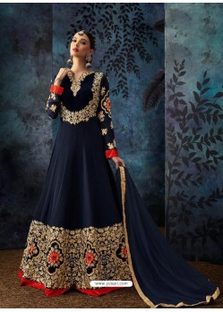 Navy Blue Georgette Embroidered Designer Anarkali Suit