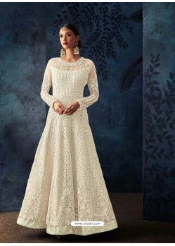 Off White Net Embroidered Designer Anarkali Suit