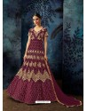 Deep Wine Georgette Embroidered Designer Anarkali Suit