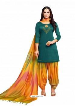 Dark Green And Multi Silk Hand Worked Salwar Suit