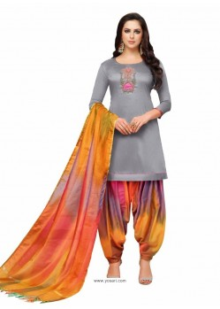 Grey Silk And Multi Hand Worked Salwar Suit