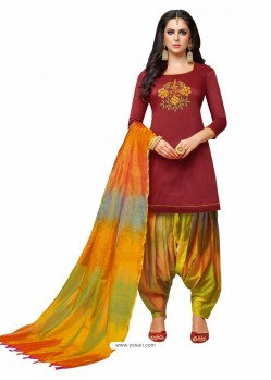 Maroon Silk And Multi Hand Worked Salwar Suit