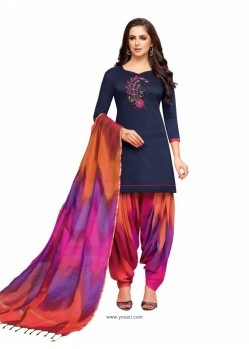 Navy Blue And Multi Silk Hand Worked Salwar Suit
