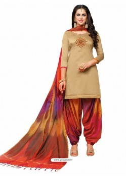 Beige And Multi Silk Hand Worked Salwar Suit