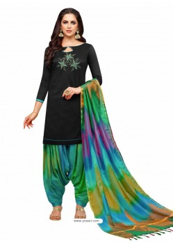 Black And Multi Silk Hand Worked Salwar Suit
