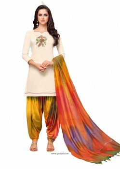 Off White And Multi Silk Hand Worked Salwar Suit