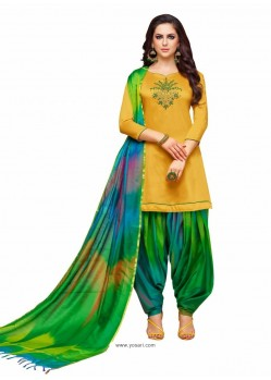 Mustard And Multi Silk Hand Worked Salwar Suit
