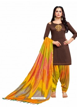 Coffee And Multi Silk Hand Worked Salwar Suit
