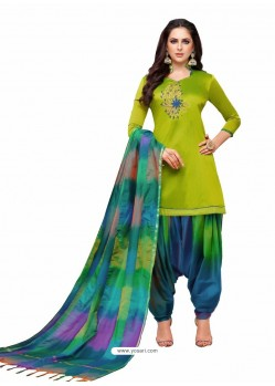Parrot Green And Multi Silk Hand Worked Salwar Suit