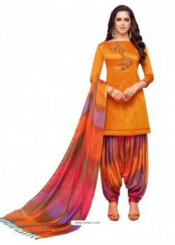 Orange And Multi Silk Hand Worked Salwar Suit