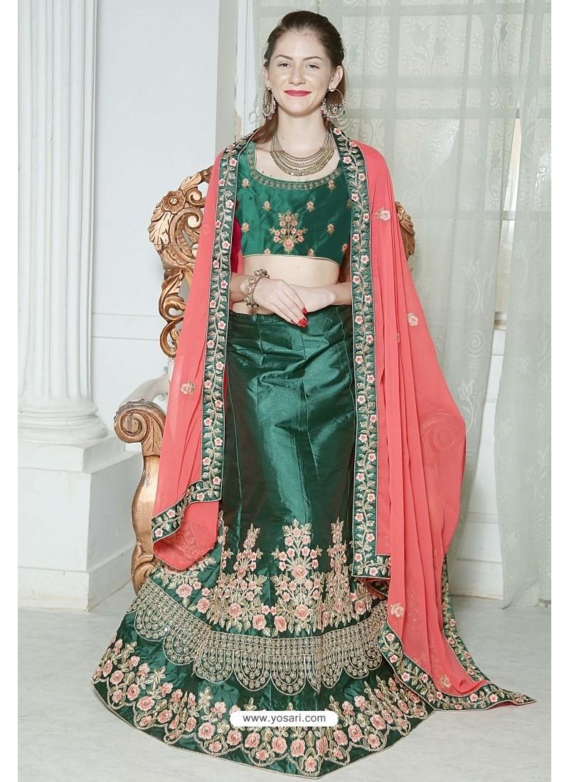 1a5f9a12c4 Buy Dark Green Fancy Silk Heavy Worked Designer Lehenga Choli ...