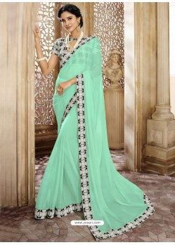 Sea Green Chiffon Lace Bordered Designer Saree