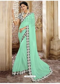 Sea Green Chiffon Lace Bordered Designer Saree