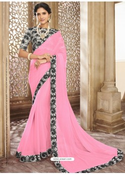 Light Pink Chiffon Lace Bordered Designer Saree