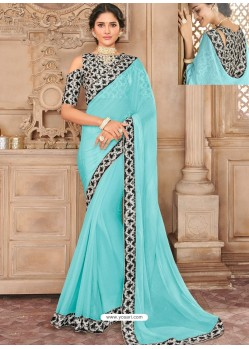 Sky Blue Chiffon Lace Bordered Designer Saree