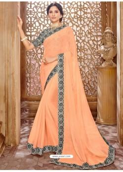 Light Orange Chiffon Lace Bordered Designer Saree