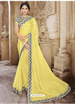 Latest Yellow Chiffon Lace Bordered Designer Saree