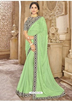Green Chiffon Lace Bordered Designer Saree