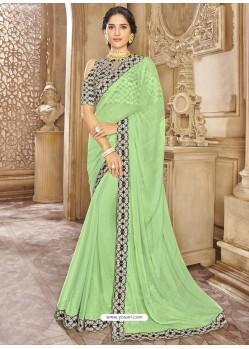 Green Chiffon Lace Bordered Designer Saree