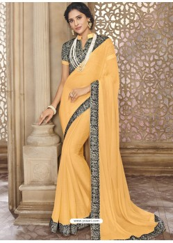 Orange Chiffon Lace Bordered Designer Saree