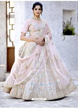 Baby Pink Satin Zari Worked Designer Lehenga Choli