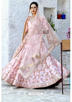 Pink Silk Zari Worked Designer Lehenga Choli