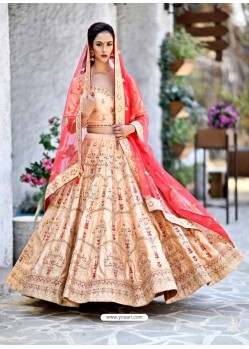 Light Orange Satin Zari Worked Designer Lehenga Choli