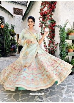 Modern Sea Green Silk Zari Worked Designer Lehenga Choli