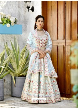 Sky Blue Satin Zari Worked Designer Lehenga Choli