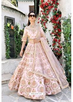 Baby Pink Silk Zari Worked Designer Lehenga Choli