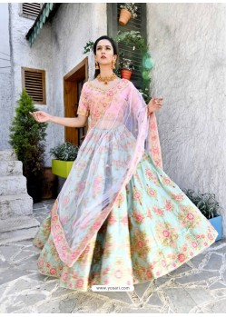 Pink And Sky Silk Zari Worked Designer Lehenga Choli