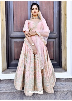 Adorable Pink Satin Zari Worked Designer Lehenga Choli