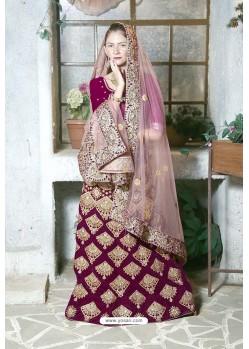 Purple Velvet Heavy Worked Designer Lehenga Choli