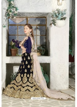 Navy Blue Velvet Heavy Worked Designer Lehenga Choli